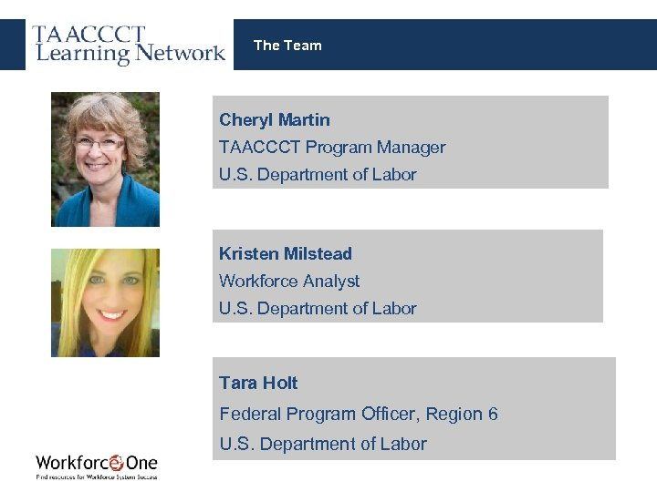 The Team Cheryl Martin TAACCCT Program Manager U. S. Department of Labor Kristen Milstead