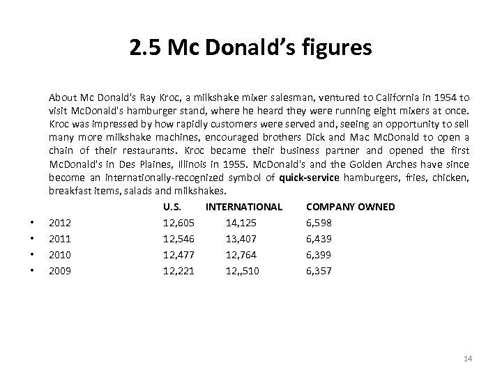 2. 5 Mc Donald's figures • • About Mc Donald's Ray Kroc, a milkshake