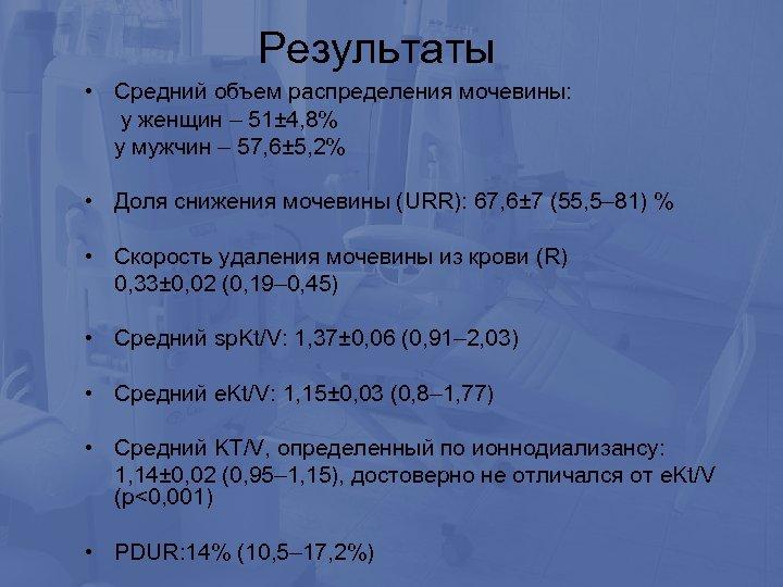 Результаты • Средний объем распределения мочевины: у женщин – 51± 4, 8% у мужчин