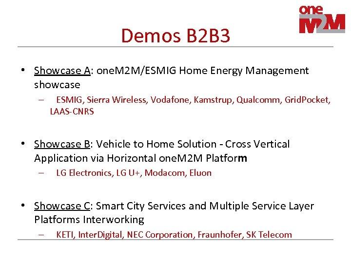 Demos B 2 B 3 • Showcase A: one. M 2 M/ESMIG Home Energy