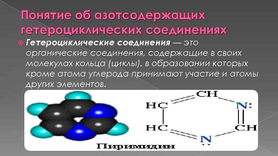Понятие об азотсодержащих гетероциклических соединениях Гетероциклические соединения — это органические соединения, содержащие в своих