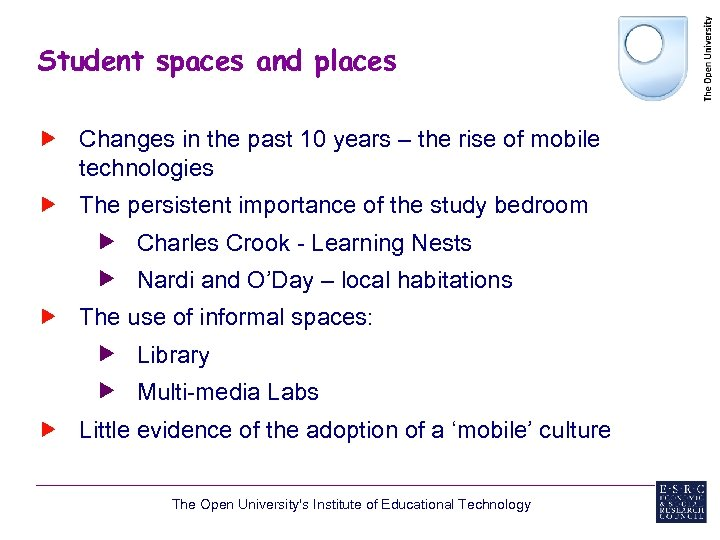 Student spaces and places Changes in the past 10 years – the rise of