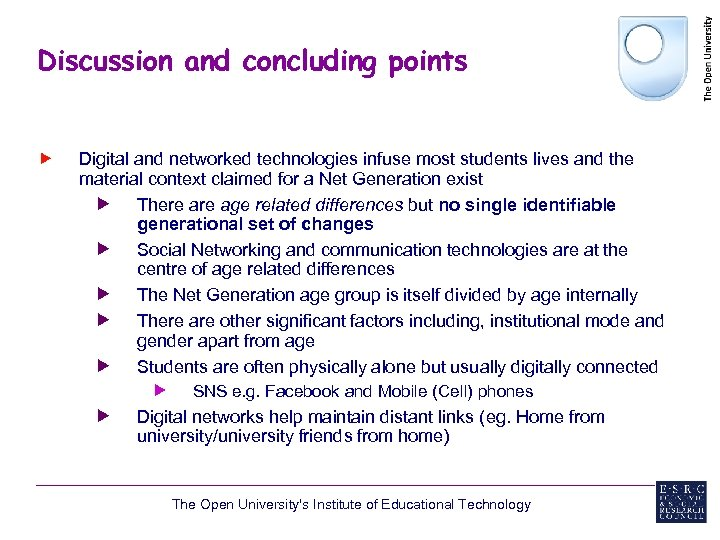 Discussion and concluding points Digital and networked technologies infuse most students lives and the