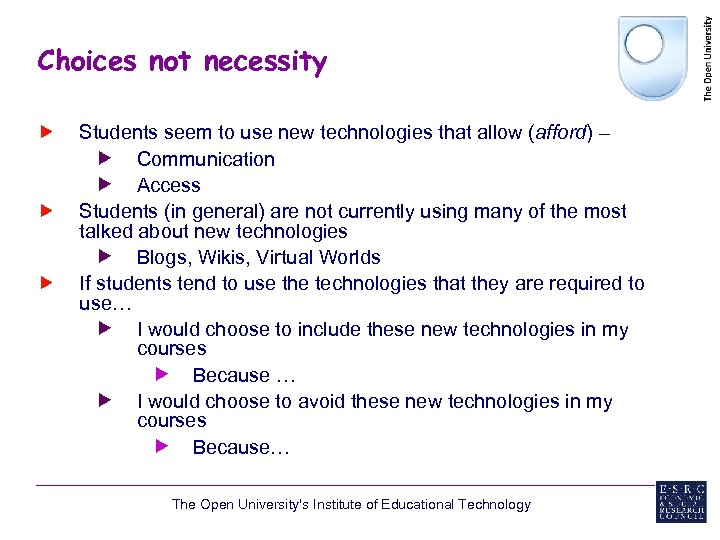 Choices not necessity Students seem to use new technologies that allow (afford) – Communication