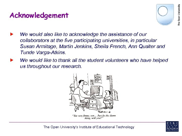 Acknowledgement We would also like to acknowledge the assistance of our collaborators at the