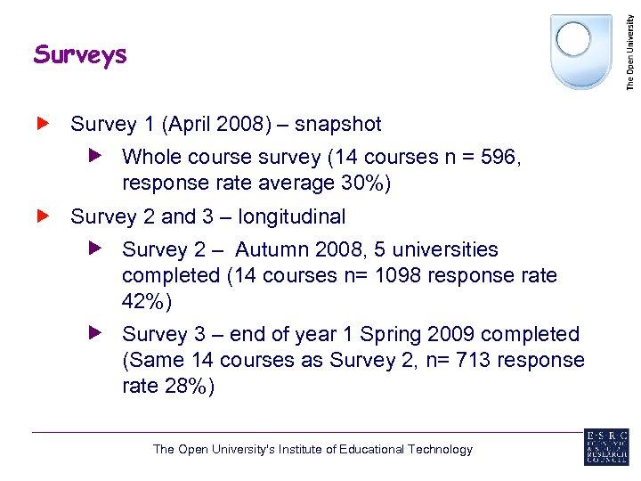 Surveys Survey 1 (April 2008) – snapshot Whole course survey (14 courses n =
