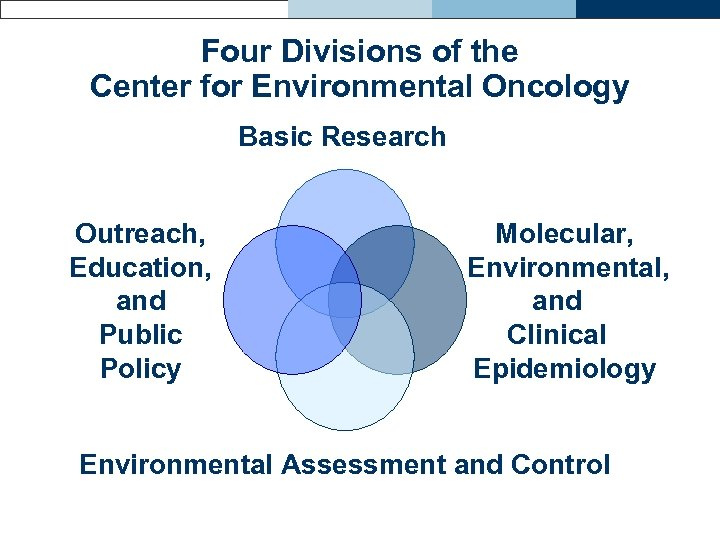 Four Divisions of the Center for Environmental Oncology Basic Research Outreach, Education, and Public
