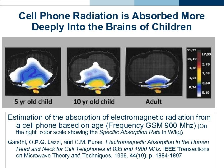 Cell Phone Radiation is Absorbed More Deeply Into the Brains of Children Estimation of