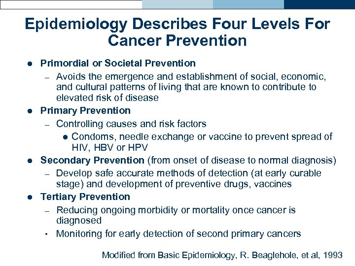 Epidemiology Describes Four Levels For Cancer Prevention l l Primordial or Societal Prevention –