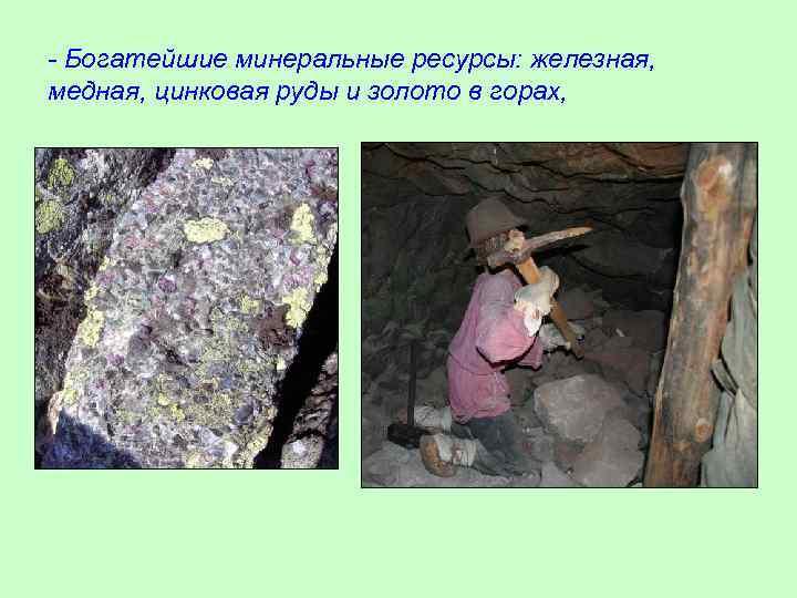 - Богатейшие минеральные ресурсы: железная, медная, цинковая руды и золото в горах,