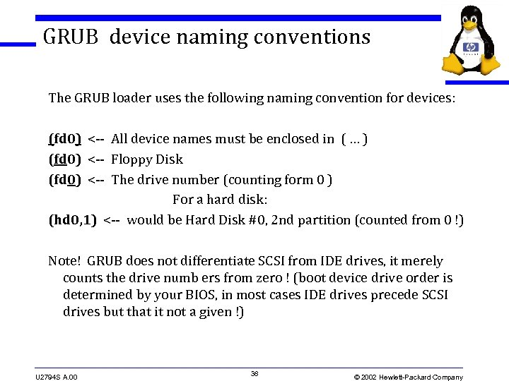 GRUB device naming conventions The GRUB loader uses the following naming convention for devices: