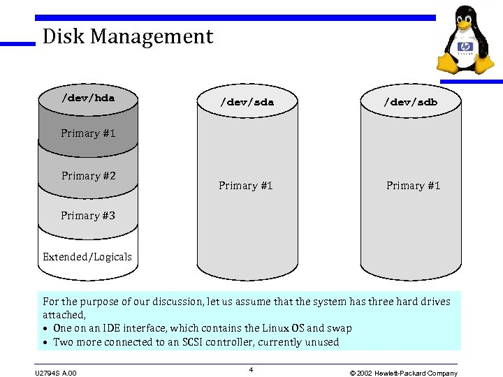 Disk Management /dev/hda /dev/sdb Primary #1 Primary #2 Primary #3 Extended/Logicals For the purpose