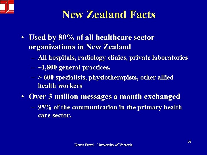 New Zealand Facts • Used by 80% of all healthcare sector organizations in New