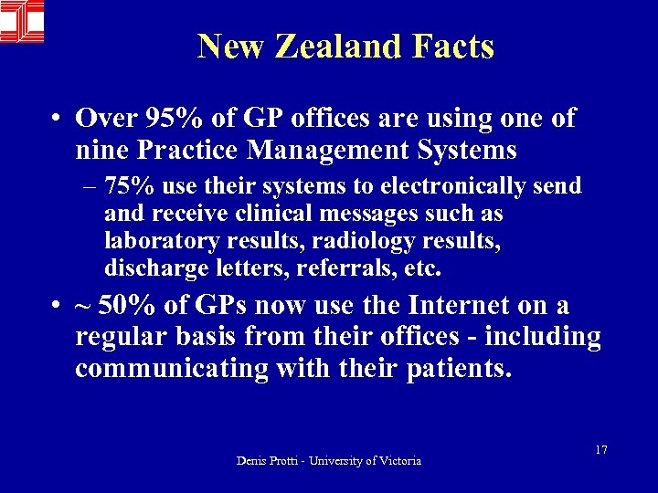 New Zealand Facts • Over 95% of GP offices are using one of nine