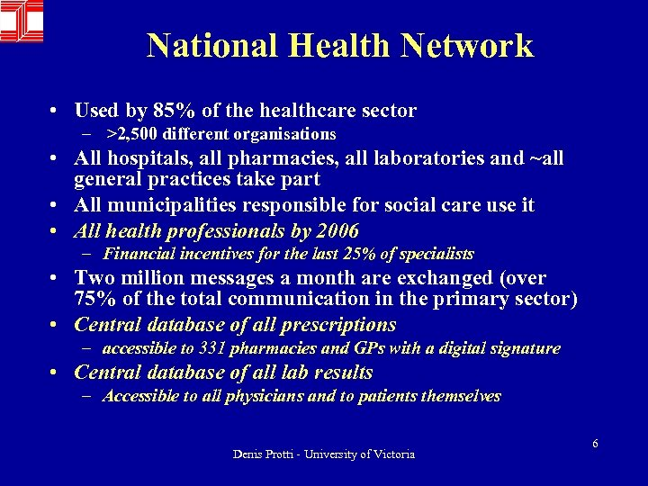 National Health Network • Used by 85% of the healthcare sector – >2, 500