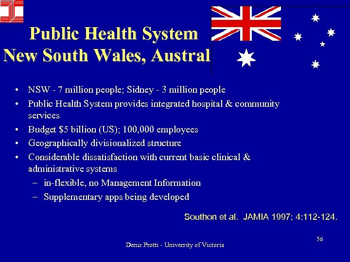 Public Health System New South Wales, Australia • NSW - 7 million people; Sidney