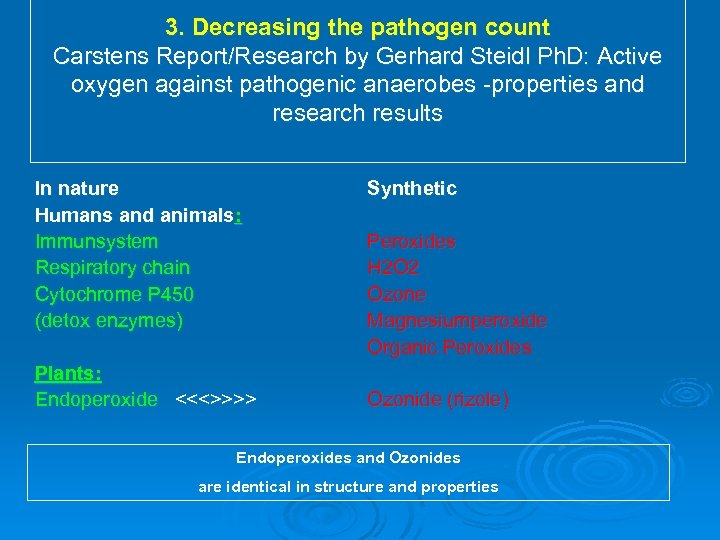 3. Decreasing the pathogen count Carstens Report/Research by Gerhard Steidl Ph. D: Active oxygen