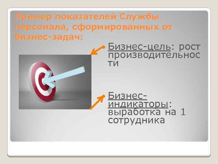 Пример показателей Службы персонала, сформированных от бизнес-задач: Бизнес-цель: рост производительнос ти Бизнес- индикаторы: выработка
