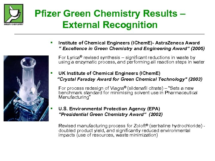 Pfizer Green Chemistry Results – External Recognition § Institute of Chemical Engineers (IChem. E)-