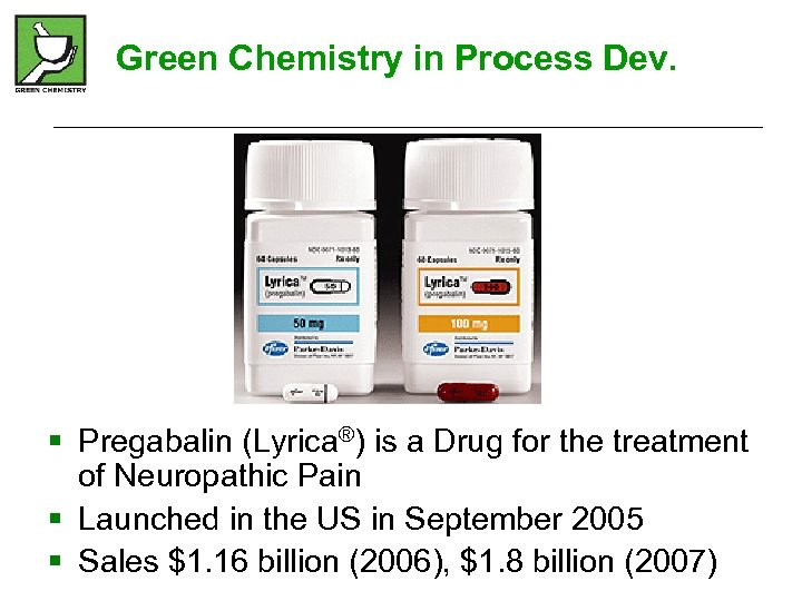 Green Chemistry in Process Dev. § Pregabalin (Lyrica®) is a Drug for the treatment