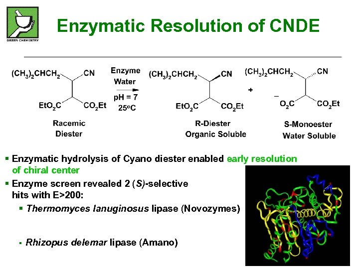 Enzymatic Resolution of CNDE § Enzymatic hydrolysis of Cyano diester enabled early resolution of