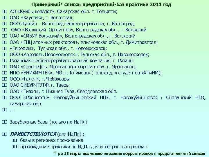 Ш Ш Ш Ш Примерный* список предприятий-баз практики 2011 год АО «Куйбышев. Азот» ,