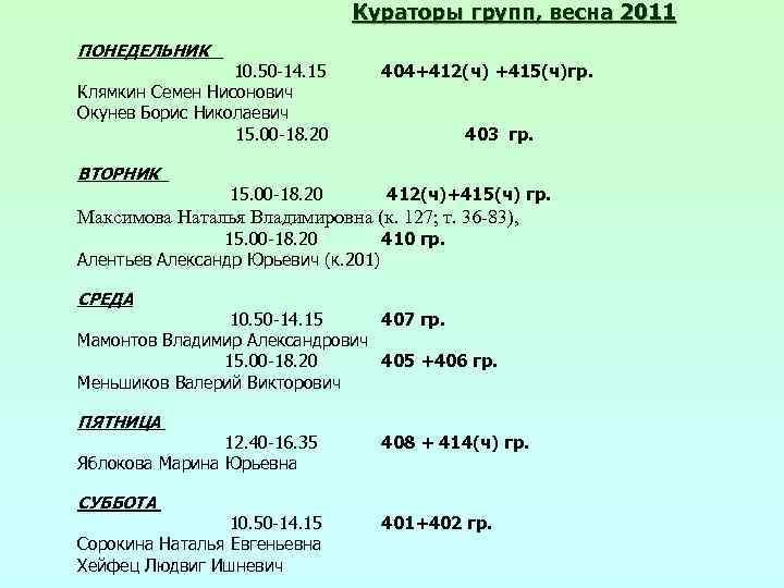 Кураторы групп, весна 2011 ПОНЕДЕЛЬНИК 10. 50 -14. 15 Клямкин Семен Нисонович Окунев Борис