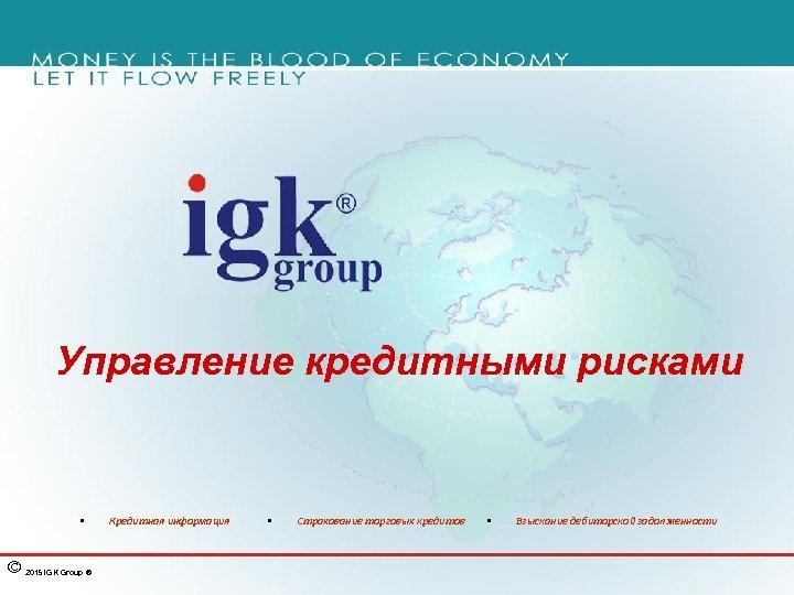 Управление кредитными рисками § © 2015 IGK Group ® Кредитная информация § Страхование торговых