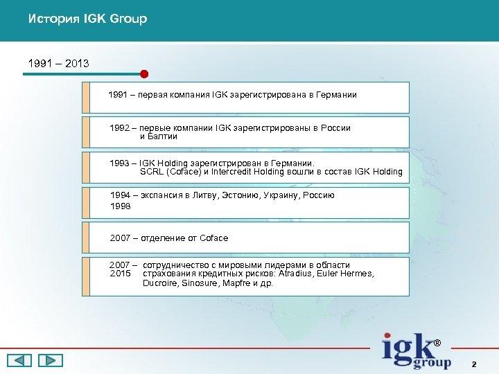 История IGK Group 1991 – 2013 1991 – первая компания IGK зарегистрирована в Германии