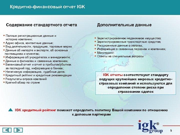 Кредитно-финансовый отчет IGK Содержание стандартного отчета § Полные регистрационные данные и историю компании; §