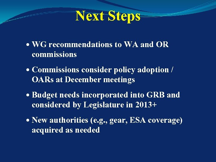 Next Steps WG recommendations to WA and OR commissions Commissions consider policy adoption /