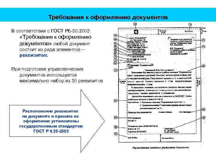 Требования к оформлению документов В соответствии с ГОСТ Р 6 -30. 2003 «Требования к