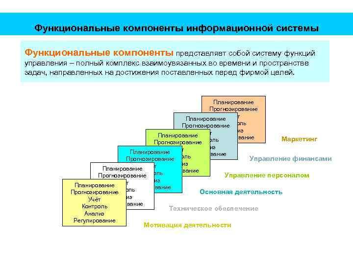 Функциональные компоненты информационной системы Функциональные компоненты представляет собой систему функций управления – полный комплекс