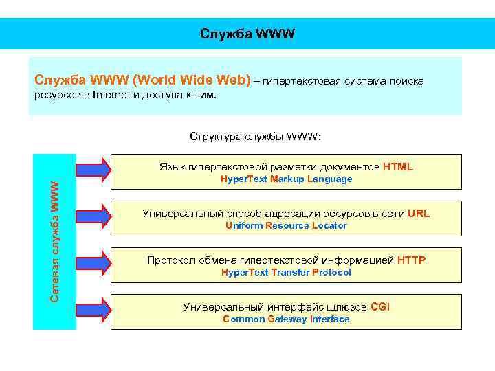 Служба WWW (World Wide Web) – гипертекстовая система поиска ресурсов в Internet и доступа