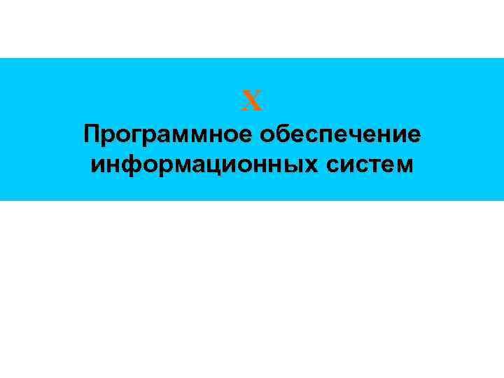 Х Программное обеспечение информационных систем