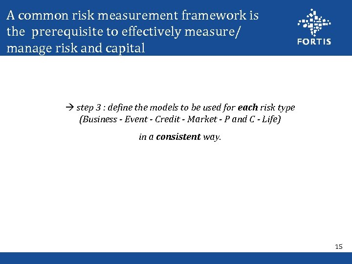 A common risk measurement framework is the prerequisite to effectively measure/ manage risk and