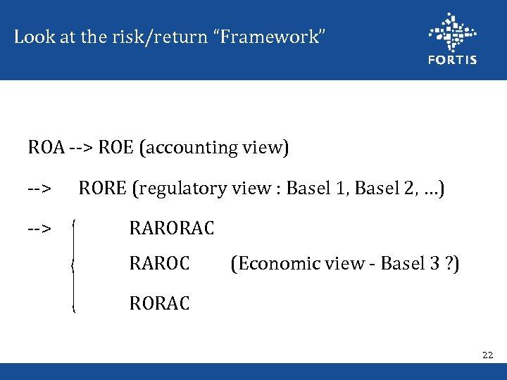 "Look at the risk/return ""Framework"" ROA --> ROE (accounting view) --> RORE (regulatory view"