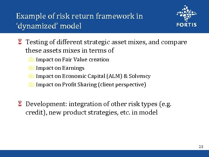 Example of risk return framework in 'dynamized' model 6 Testing of different strategic asset