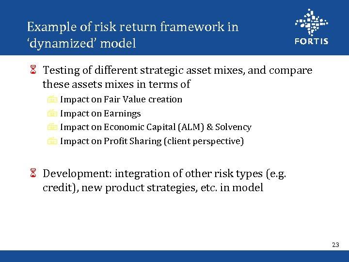 Example of risk return framework in 'dynamized' model 6 Testing of different strategic asset