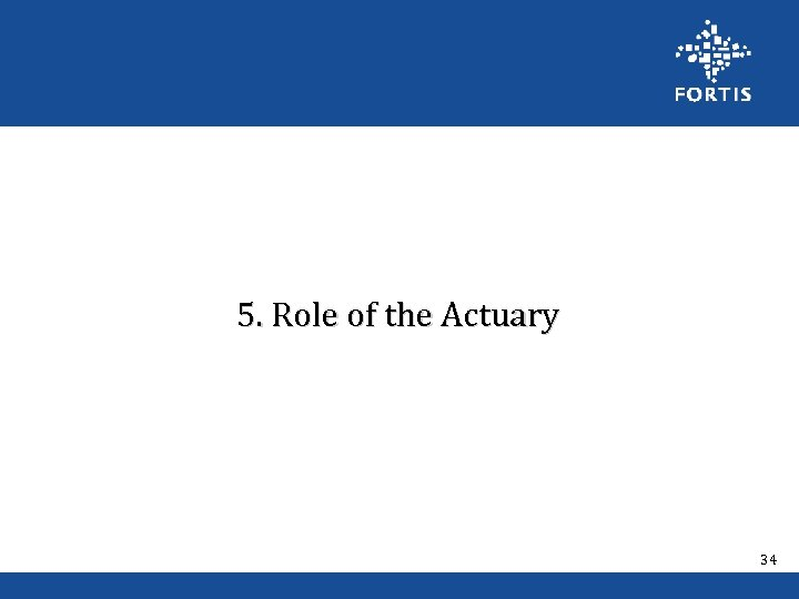 5. Role of the Actuary 34