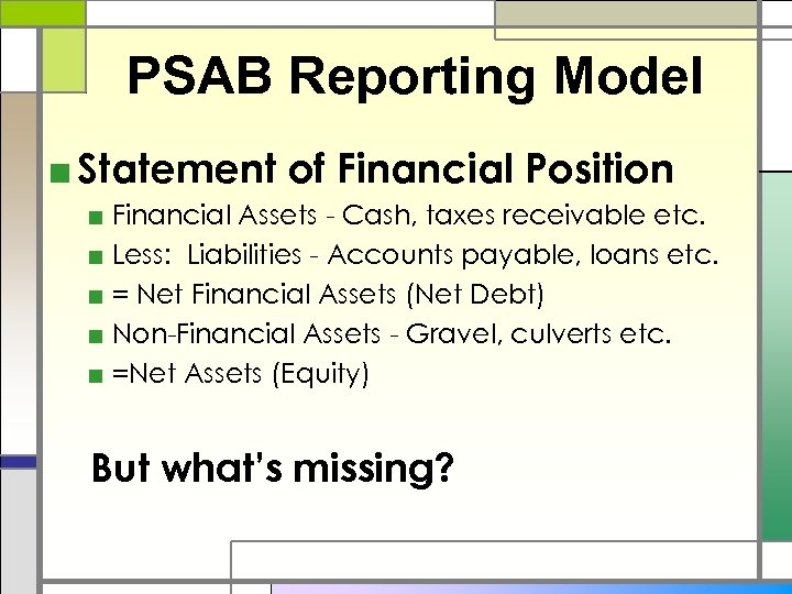 PSAB Reporting Model ■ Statement of Financial Position ■ Financial Assets - Cash, taxes