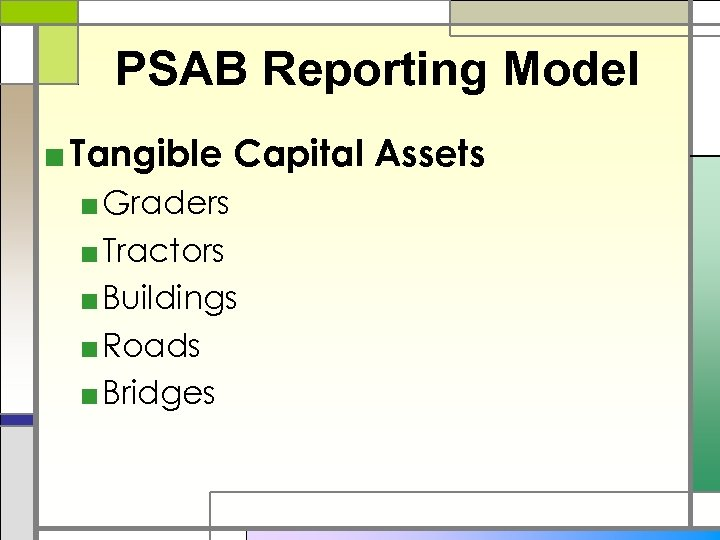 PSAB Reporting Model ■ Tangible Capital Assets ■ Graders ■ Tractors ■ Buildings ■