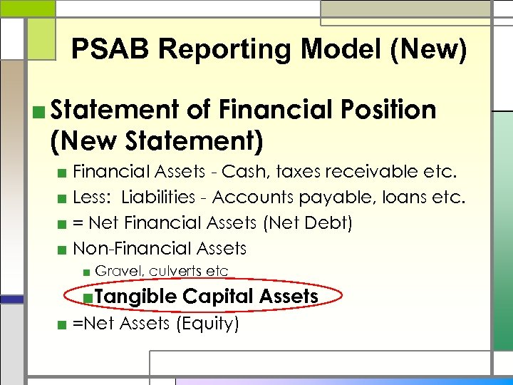 PSAB Reporting Model (New) ■ Statement of Financial Position (New Statement) ■ Financial Assets