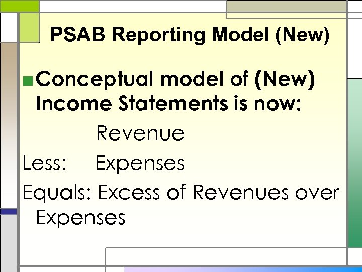 PSAB Reporting Model (New) ■ Conceptual model of (New) Income Statements is now: Revenue