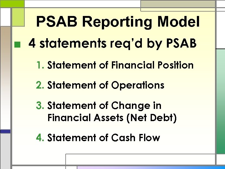 PSAB Reporting Model ■ 4 statements req'd by PSAB 1. Statement of Financial Position