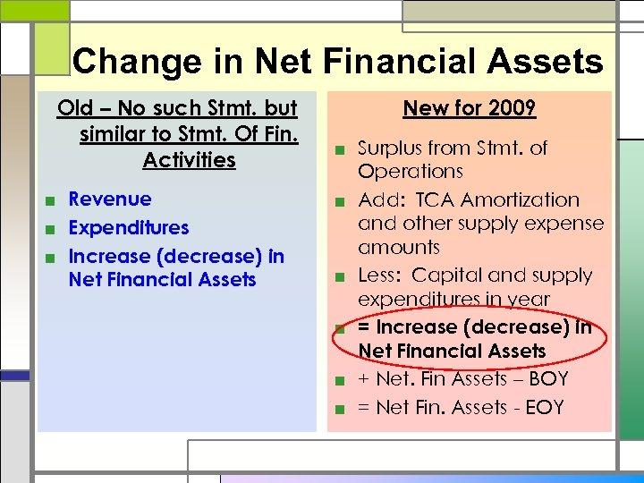 Change in Net Financial Assets Old – No such Stmt. but similar to Stmt.