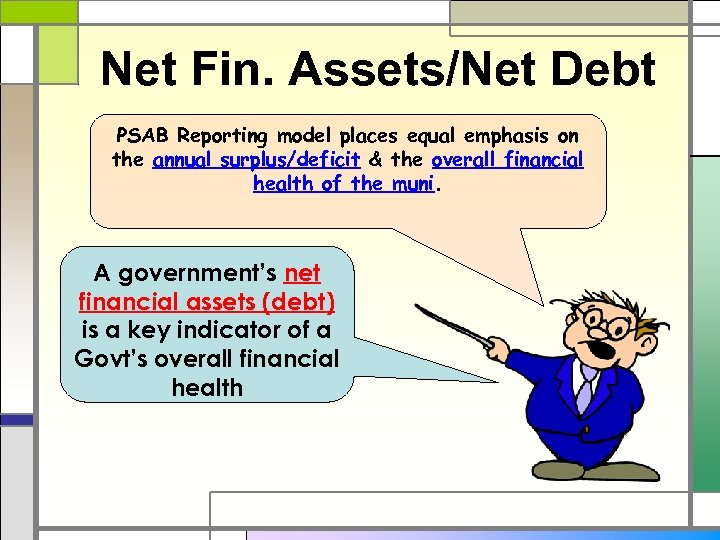 Net Fin. Assets/Net Debt PSAB Reporting model places equal emphasis on the annual surplus/deficit