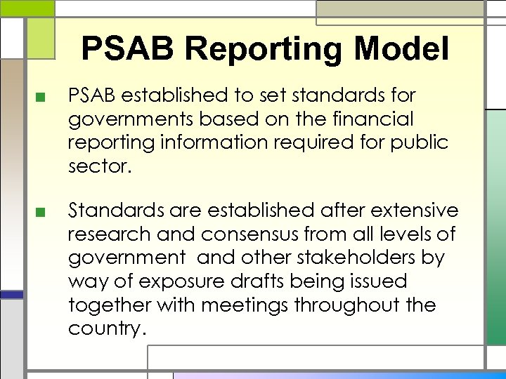 PSAB Reporting Model ■ PSAB established to set standards for governments based on the