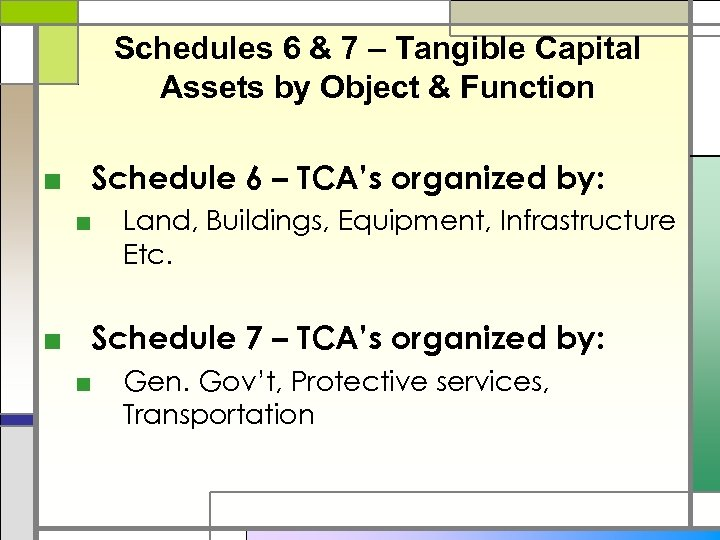 Schedules 6 & 7 – Tangible Capital Assets by Object & Function ■ Schedule