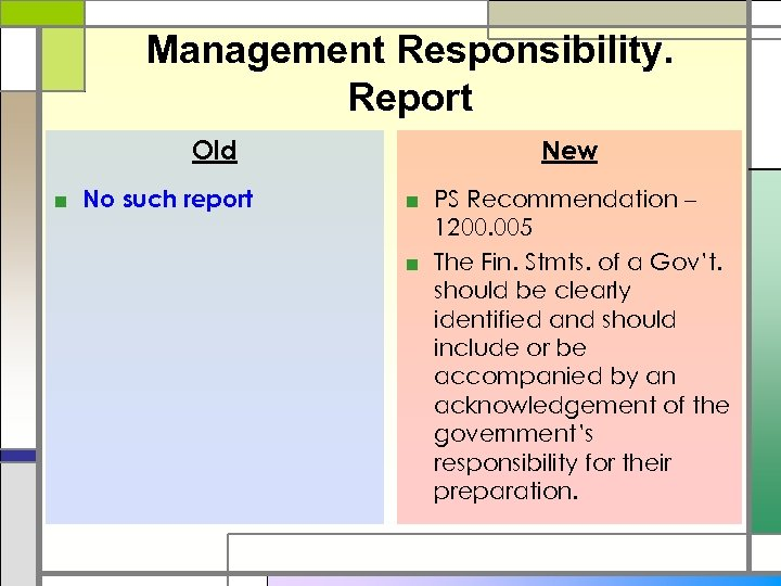 Management Responsibility. Report Old ■ No such report New ■ PS Recommendation – 1200.
